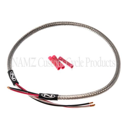 NAMZ stainless steel braided headlight harness, universal fitment.
