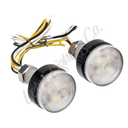 Black LED Surface Mount/Grip Light Indicator Lights for Harley