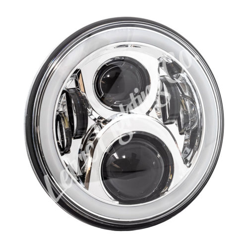 """7"""" LED Chrome Full-Halo wide-array Headlamp for harley indian"""
