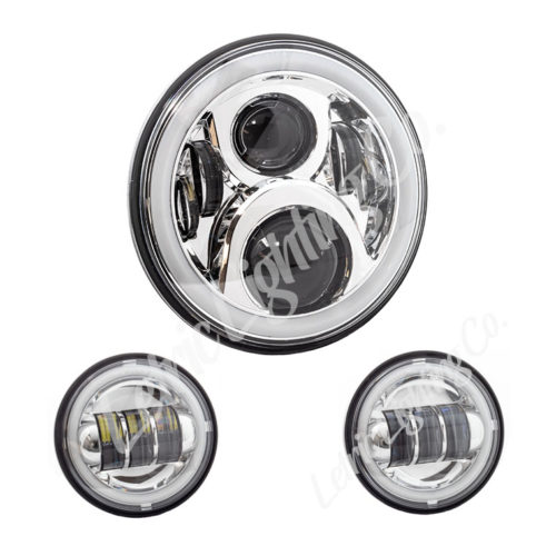 Full-Halo Chrome LED Headlamp with passing lamps for harley