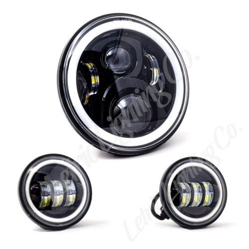 """7"""" LED Black Full Halo wide-array Headlamp w/ (2) 4.5"""" Black Full Halo Passing Lamps for harley indian motorcycles"""