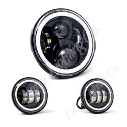 """7"""" LED Black Full Halo wide-array Headlamp w/ (2) 4.5"""" Black Full Halo Passing Lamps for harley indian"""